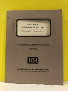 Krohn hite Solid State Variable Filter 3550 r Operating And Maintenance Manual