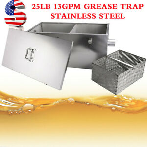 Thickened For Restaurant Kit Wastewater Grease Trap 25lb 13gpm Large Capacity Us