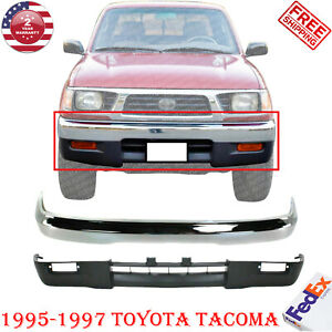 Front Bumper Chrome Steel Valance For 95 1997 Toyota Tacoma 4wd Sr5 Dlx Base