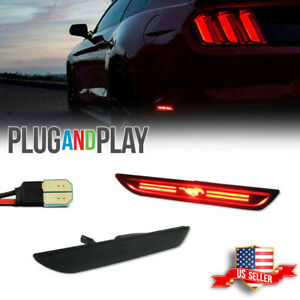 Smoked Black Lens Rear Bumper Side Marker Led Lights For 2015 2021 Ford Mustang