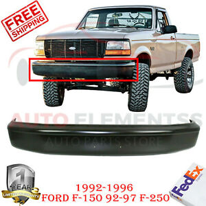 Front Bumper Primed Steel For 92 96 Ford Bronco 92 97 F 150 250 350 W O Pad Hole