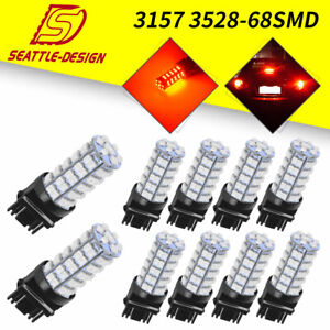 10x Red 3157 3156 3528 68 Smd Turn Signal Tail Brake Led Light Bulbs 12v