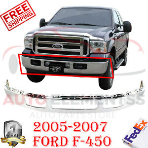 Front Bumper Chrome Steel For 2005 2007 Ford F 450 550 Super Duty W Fender Hole