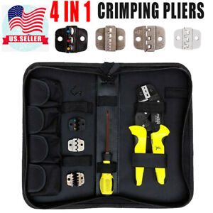 4 In 1 Professional Wire Terminal Crimper Pliers Terminals Tool Kit Us Seller