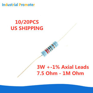 10 20pcs 3w 3watt Metal Film Resistor 1 7 5 1m Ohm Up To 1000 Kr