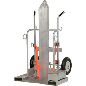 Vestil Welding Cylinder Torch Cart W fork Pocket 500lb Cap Galvanized Cyl 2 g