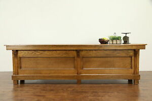 Oak Antique Paneled 10 Rustic Country Store Counter Kitchen Island Bar 31828