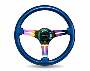 Nrg 350mm Steering Wheel Blue Classic Wood Grain Neo Chrome 3 Spoke Center
