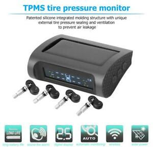Solar Tpms Car Tire Pressure Alarm Monitor System Lcd Display 4 Internal Sensors