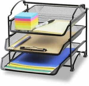Desk Organizer Set Mesh Work Shelf And Accessories Dorm Supplies Tray Document