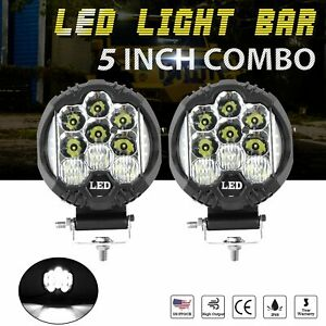 2x 5inch 120w Side Shooter Led Work Light Bar Combo Fog Driving Lamp Offroad Suv