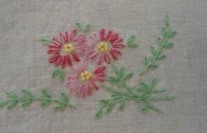Vintage Pink Lazy Daisy Embroidery Tablecloth Jadeite Green Leaves Swirls Linen