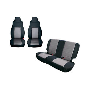 Front And Rear Black Grey Seat Covers For Jeep Wrangler Tj 1997 2002 13292 09