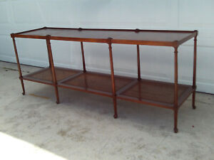 Antique Neo Classical Baker Extra Long Enterance 2 Tier Cane Shelf Console Table