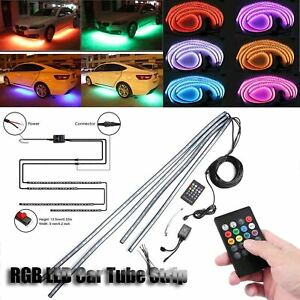 4pcs Rgb 8 Colors Led Strip Under Car Tube Underbody Underglow Glow Neon Light
