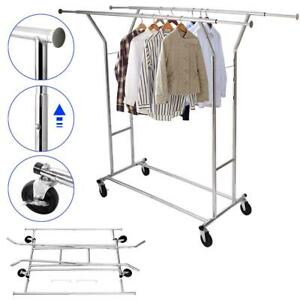Portable Double bar Garment Rack Hanger Holder Adjustable Steel Clothes Rack