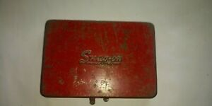 Vintage Snap On Tools Small Empty Red Metal 1 4 Drive Tool Box Kra275 Dated 76