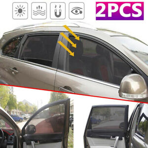 2pcs Magnetic Car Front Side Window Cover Sun Shade Visor Curtain Shield Cover