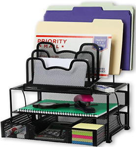 Mesh Desk Organizer With Sliding Drawer Double Tray 5 Stacking Sorter Section