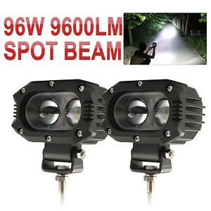Pair 4 Inch Square Pods Led Work Light Spot Lights Truck Off Road Tractor 12v