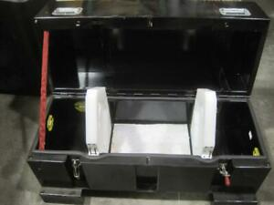 Black Metal Freight Shipping Crate Storage Case Equipment Box Safety 48x24x26