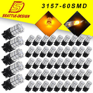 100x Amber yellow 3157 3156 60smd 3528 For Car Signal Led Interior Light Bulbs