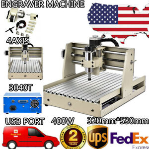 Usb 4 Axis 3040 Cnc Router Engraver 0 4kw Woodwork Cutter Mill Drill Machine