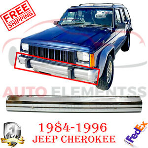 Front Bumper Chrome Steel Face Bar For Jeep Cherokee 84 1996 Comanche 86 1992
