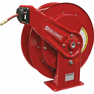 Reelcraft Spring Retractable Air Hose Reel W 1 2inx75ft Hose Max 300 Psi