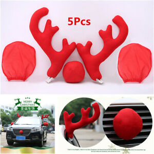 5pcs Set Car Christmas Plush Antlers Nose Mirror Cover Styling Decor Accessories