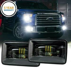 Pair Led Fog Lights Front Bumper Driving Lamp Rectangle For Ford F 150 2015 2017