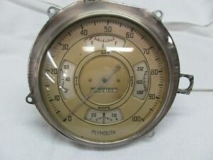 Vintage Plymouth Large Curved Glass Gauge Panel 1930s Ac Gauges And Speedometer