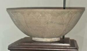 Rare Chinese Yuan Period Song Dynasty Olive Celadon Glaze Lotus Bowl C 1279