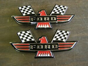 Ford Crossed Flag Fender Emblems Red Mustang Fairlane Galaxie Falcon 1963 1964