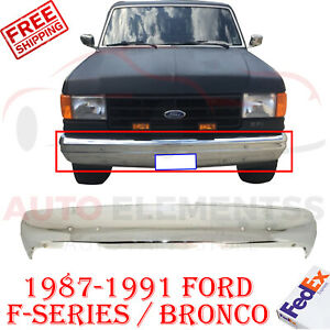 Front Bumper Chrome Steel W o Strip Holes Fits 1987 1991 Ford F 150 Bronco