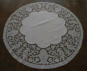 Vintage Tablecloth Linen Egyptian Embroidered Bird Cutwork Lace Topper
