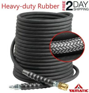 Yamatic Hot Water Pressure Washer Hose 50ft Tensile Wire Braided Swivel 3 8 Npt