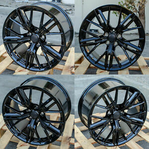 20 Gloss Black Wheels 20x10 23 20x11 43 Fit Chevrolet Camaro Chevy Set 4