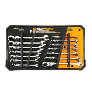 Gearwrench Flex head Sae Metric Combination Ratchet 14 piece Set Kdt85141 New