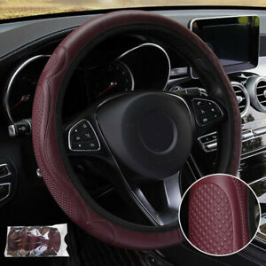 Wine Red Car Steering Wheel Cover Soft Leather Breathable Anti Slip 15 38cm