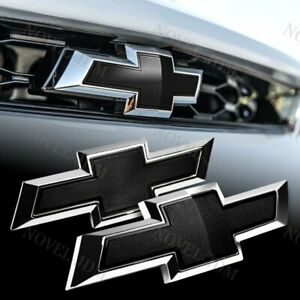 Black For 2014 2018 Chevy Chevrolet Impala Front Grille rear Bowtie Emblem Set