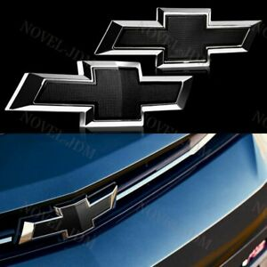 Set For 2017 2018 Chevy Chevrolet Malibu Front Grille Rear Black Bowtie Emblem