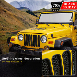 Black Front Grille Honeycomb Grill Inserts Cover Trim For Jeep Wrangler Tj 97 06