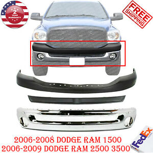 Front Bumper Chrome Filler Textured Up Cover For 06 2009 Dodge Ram 1500 3500