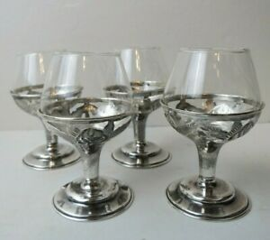 Set Of Four Aztec Rose Sterling Silver Cordials With Crystal Liners Ela 925