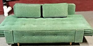 Mid Century Modern Sofa Couch Daybed Danish Trundle Drop Arms Rare 1940 1960 S