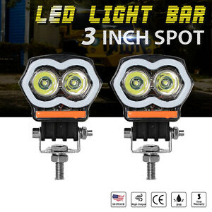 2x 3 Inch 20w Led Light Bar Spot Work Fog Pods Halo Angle Eyes Off Road Atv 4wd