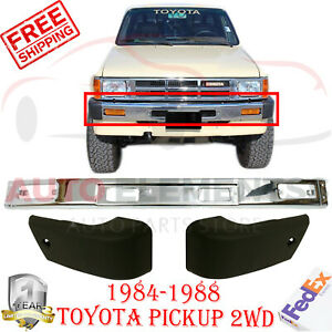 Front Bumper Chrome Steel End Caps For 1984 1988 Toyota Pickup 2wd 3pc Bumper