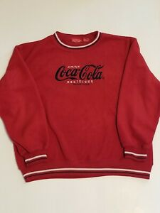 Vintage Coca Cola Sweater Fleece Pullover Retro Embroidered Crewneck Sz M 7/9