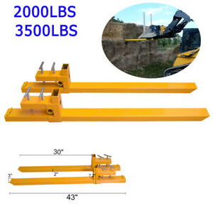 Industrial 2000lbs 3500lbs Clamp On Pallet Forks Loader Bucket Tractor Parts